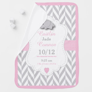 Baby Pink Elephant Birth Keepsake Design Swaddle Blankets