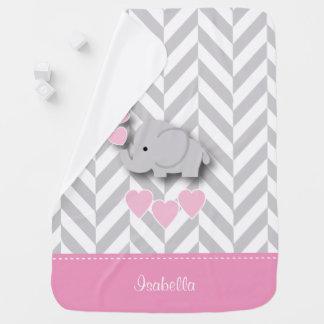 Baby Pink Elephant Design Receiving Blankets