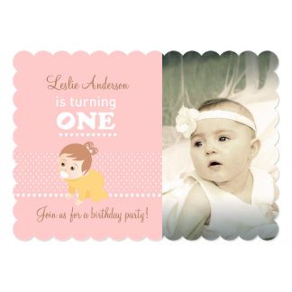 Baby pink first birthday party photo invitation