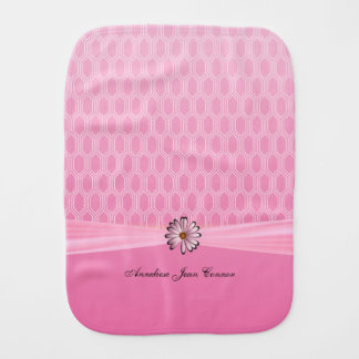 Baby Pink Geometric with Pink Daisy Burp Cloth