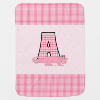 Baby Pink Gingham Checks Letter A Monogram Receiving Blanket