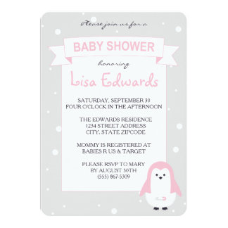 Baby Pink Penguin Baby Shower Invitation