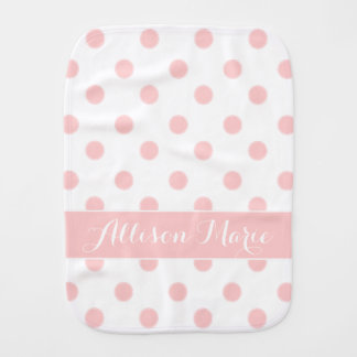 Baby Pink Polka Dots on White Personalized Burp Cloth