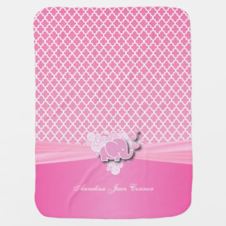 Baby Pink Quatrefoil Designs with Baby Elephant Baby Blanket