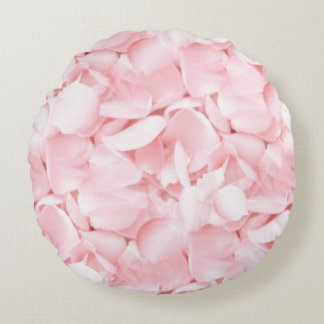 Baby Pink Rose Petals Round Pillow