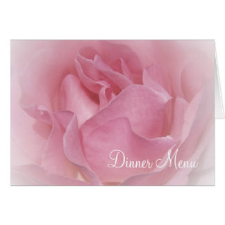 Baby Pink Rose Wedding Menu Card
