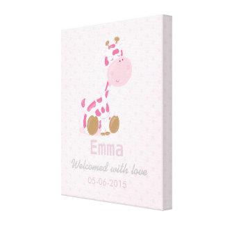 Baby Pink Safari Giraffe - Baby Shower or nursery Canvas Print