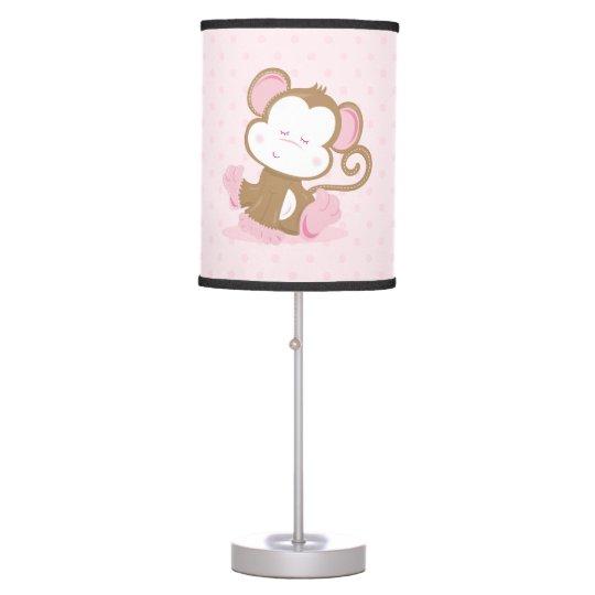 Baby Pink Safari Sleppy Monkey Table Lamp