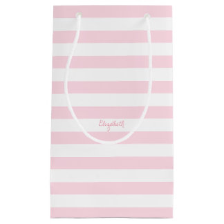 Baby Pink Stripes Custom Name Party Favor Gift Bag