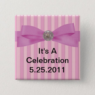 Baby Pink Stripes Elegance Lapel 2 Inch Square Button