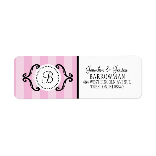 Baby Pink Sweet Charming Striped Personalized Return Address Label