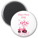 Baby Pink Tractor with Balloons Magnet Fridge Magnet