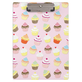 Baby Pink Valentines Cup Cakes Clipboard
