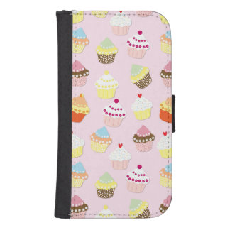 Baby Pink Valentines Cup Cakes Samsung S4 Wallet Case