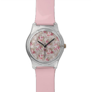 Baby Pink Vintage Floral Pattern Wristwatch