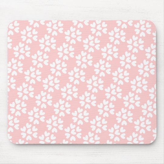 Baby Pink White Sweet Hearts Pattern Mouse Pad