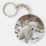Baby Polar Bear Basic Round Button Keychain