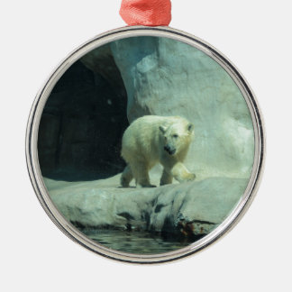 Baby Polar Bear Silver-Colored Round Ornament