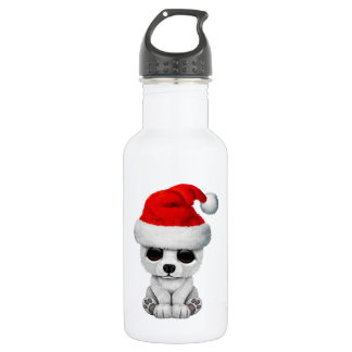 Baby Polar Bear Wearing a Santa Hat 532 Ml Water Bottle