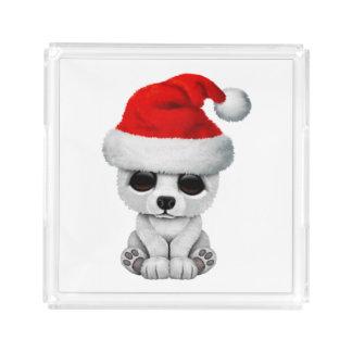 Baby Polar Bear Wearing a Santa Hat Acrylic Tray