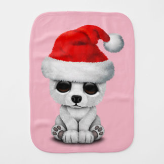 Baby Polar Bear Wearing a Santa Hat Burp Cloth