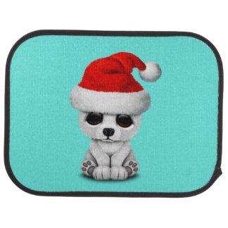Baby Polar Bear Wearing a Santa Hat Car Mat