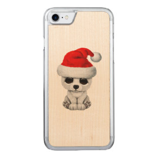 Baby Polar Bear Wearing a Santa Hat Carved iPhone 8/7 Case