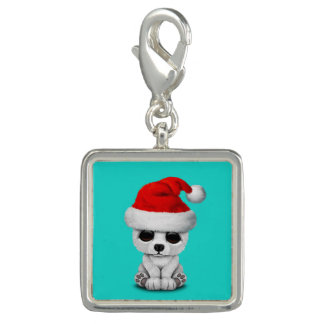 Baby Polar Bear Wearing a Santa Hat Charm