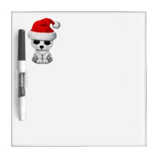 Baby Polar Bear Wearing a Santa Hat Dry Erase Board