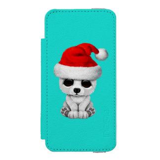 Baby Polar Bear Wearing a Santa Hat Incipio Watson™ iPhone 5 Wallet Case