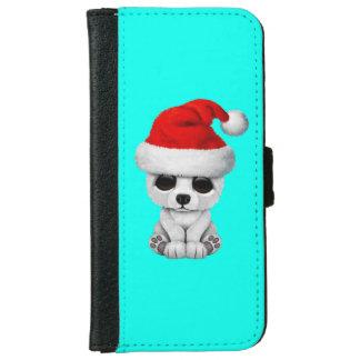 Baby Polar Bear Wearing a Santa Hat iPhone 6 Wallet Case