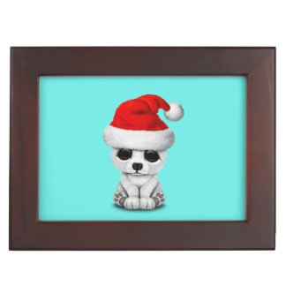 Baby Polar Bear Wearing a Santa Hat Keepsake Box