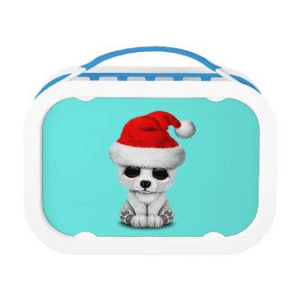 Baby Polar Bear Wearing a Santa Hat Lunch Box