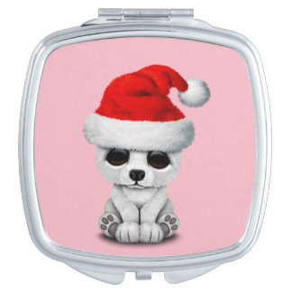 Baby Polar Bear Wearing a Santa Hat Makeup Mirror