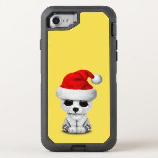 Baby Polar Bear Wearing a Santa Hat OtterBox Defender iPhone 8/7 Case