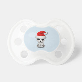 Baby Polar Bear Wearing a Santa Hat Pacifier