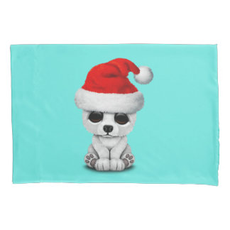 Baby Polar Bear Wearing a Santa Hat Pillowcase