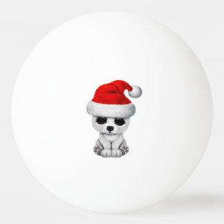 Baby Polar Bear Wearing a Santa Hat Ping Pong Ball