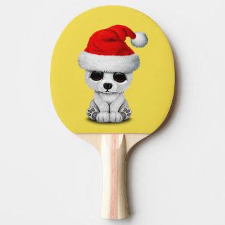 Baby Polar Bear Wearing a Santa Hat Ping Pong Paddle