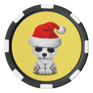 Baby Polar Bear Wearing a Santa Hat Poker Chips