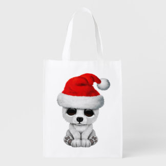 Baby Polar Bear Wearing a Santa Hat Reusable Grocery Bag