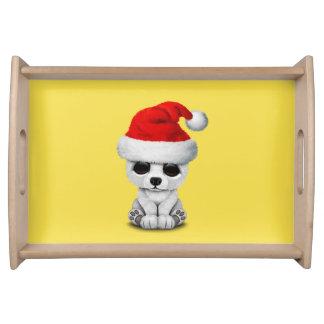 Baby Polar Bear Wearing a Santa Hat Serving Tray