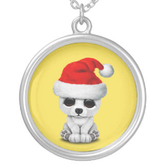 Baby Polar Bear Wearing a Santa Hat Silver Plated Necklace