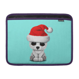 Baby Polar Bear Wearing a Santa Hat Sleeve For MacBook Air