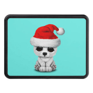 Baby Polar Bear Wearing a Santa Hat Trailer Hitch Cover