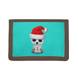 Baby Polar Bear Wearing a Santa Hat Tri-fold Wallets