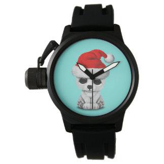 Baby Polar Bear Wearing a Santa Hat Watch