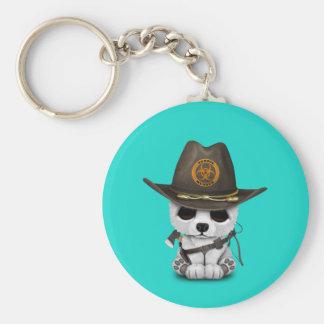 Baby Polar Bear Zombie Hunter Basic Round Button Keychain