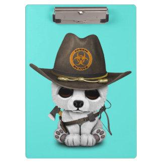 Baby Polar Bear Zombie Hunter Clipboard