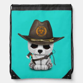 Baby Polar Bear Zombie Hunter Drawstring Bag